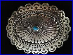 Native American Navajo HUGE Sterling Silver &Turquoise Conchos Leather Belt