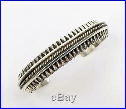 Native American Navajo Leander Tahe Heavy Sterling Silver Men's Cuff Bracelet