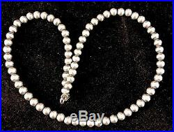 Native American Navajo Pearls 6mm Sterling Silver Bead Necklace 19 Sale 390
