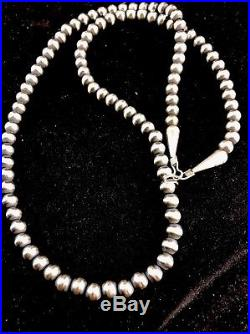 Native American Navajo Pearls 6mm Sterling Silver Bead Necklace 21 Sale 208