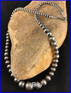 Native American Navajo Pearls Graduated Sterling Silver Bead Necklace 21Sale A8