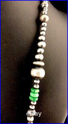 Native American Navajo Pearls Sterling Silver Bead Necklace 36 Long S423