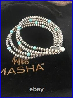 Native American Navajo Pearls Sterling Silver Blue Turquoise Bracelet Gift 4 St