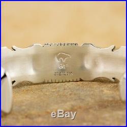 Native American Navajo Sterling Silver Fire Opal Inlay Cuff Bracelet SF