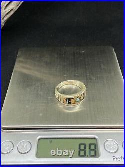 Native American Navajo Sterling Silver Jasper, Turquoise&Jet Mens Ring Size 10.5