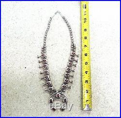 Native American Navajo Sterling Silver Squash Blossom Coral Necklace