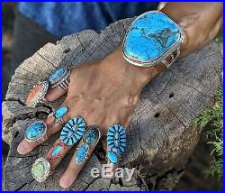 Native American Ring Oval Turquoise Stones Sterling Silver Band Navajo Jewelry