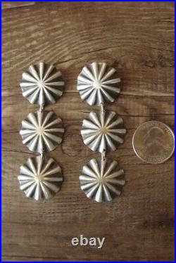 Native American Sterling Silver Concho Earrings by Yazzie