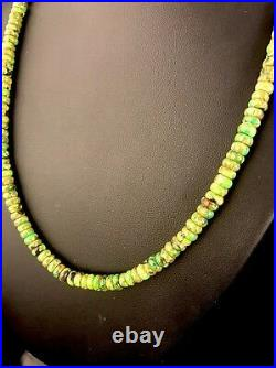 Native American Sterling Silver Green Turquoise Necklace