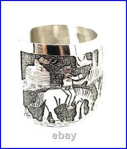 Native American Sterling Silver Navajo Handmade Story Teller Cuff Bracelet