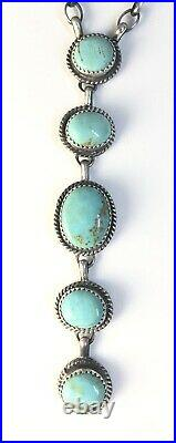 Native American Sterling Silver Navajo Indian Kingman Turquoise Lariat Necklace