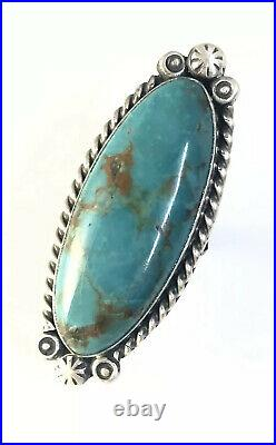 Native American Sterling Silver Navajo Indian Kingman Turquoise Ring Size 7