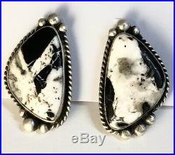 Native American Sterling Silver Navajo Indian White Buffalo Turquoise Earrings