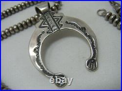 Native American Sterling Silver Navajo Pearl Naja Pendant Beaded Necklace 24