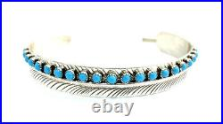Native American Sterling Silver Navajo Turquoise Feather Design Cuff bracelet