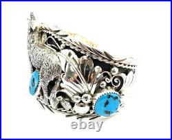 Native American Sterling Silver Navajo Turquoise Leaf Wolf Cuff Bracelet