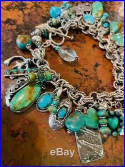 Native American Sterling Silver Turquoise Charm Bracelet Slifka Lucas E Spencer