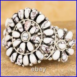 Native American Sterling Silver White Buffalo Flower Cluster Bracelet Size 6 JW