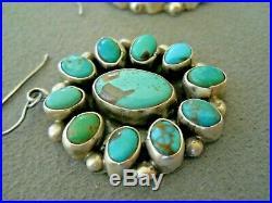 Native American Turquoise Cluster Sterling Silver Hook Earrings ELLA PETER
