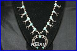 Native American Turquoise Squash Blossom Necklace Sterling Silver Beads Navajo