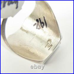 Native American Wilbert Gray Sterling Silver Turquoise Inlay Men Ring Size 10