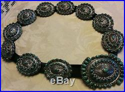 Native Navajo Carico Lake Turquoise and Sterling Silver Concho Belt by Joe Paul