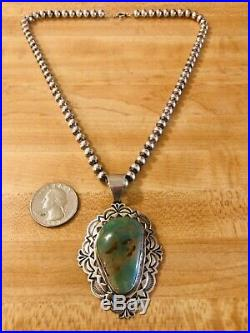 Navajo Alex Sanchez Large Sterling Silver Royston Turquoise Pendant Necklace 925
