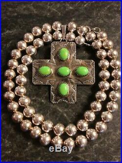Navajo B Joe Rocki Gorman Sterling Silver Turquoise Pendant Ball Bead Necklace