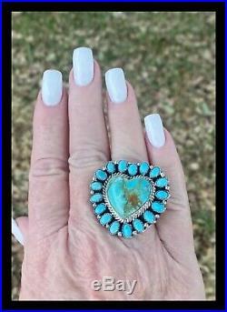 Navajo Blue Kingman Turquoise Heartringbernita Begay