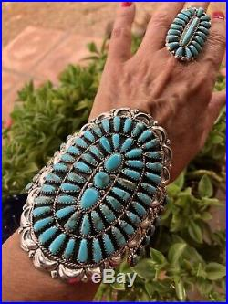 Navajo Cluster Turquoise & Sterling Silver Cuff Bracelet Signed