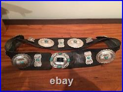 Navajo Concho belt -leather with silver and turquoise conchos