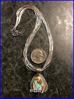 Navajo Denetdale Sterling Boulder Turquoise Pendant & Liquid Silver Necklace 925