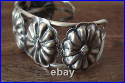 Navajo Hand Stamped Sterling Silver Concho Bracelet by Yazzie