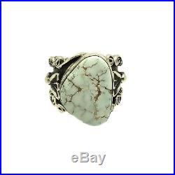 Navajo Handmade Sterling Silver Dry Creek Turquoise Ring Size 9 L. James