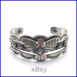 Navajo Handmade Sterling Silver Old Style Stamp Thunderbird Bracelet- Tim Yazzie