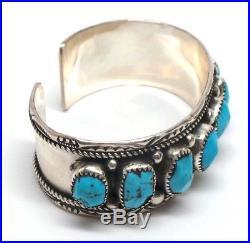 Navajo Handmade Sterling Silver Sleeping Beauty Turquoise Cuff Bracelet- MT