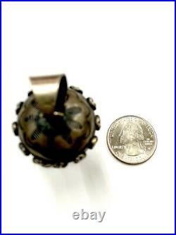 Navajo Handmade Sterling Silver Stamp Squash Blossom Pendant By Tim Yazzie Rare