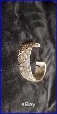 Navajo Handmade Sterling Silver Storyteller Large Cuff Bracelet Lloyd Becenti