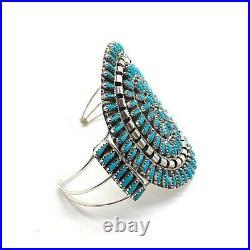Navajo Handmade Sterling Silver Turquoise Cluster Cuff Bracelet Violet Begay