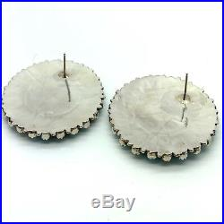 Navajo Handmade Sterling Silver Turquoise Cluster Post Earrings Pamela B