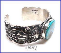 Navajo Handmade Sterling Silver Turquoise Hand stamped Bracelet -D. Cadman
