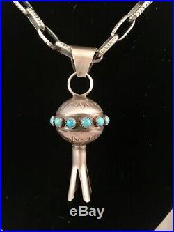 Navajo Handmade Turquoise & Sterling Silver Squash Blossom Pendant