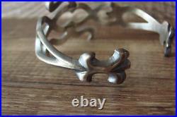 Navajo Indian Cast Sterling Silver Cuff Bracelet F. L. Begay
