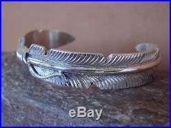 Navajo Indian Jewelry Sterling Silver Feather Bracelet by Chris Charley