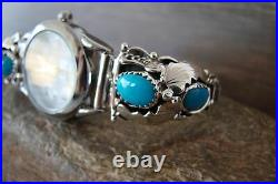 Navajo Indian Jewelry Sterling Silver Turquoise Ladies Watch Saunders