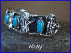 Navajo Indian Jewelry Sterling Silver Turquoise Wolf Bracelet by Running Bear
