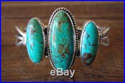 Navajo Indian Sterling Silver Turquoise Bracelet Signed
