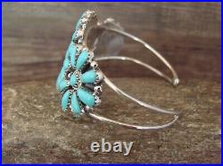 Navajo Indian Traditional Sterling Silver Turquoise Cluster Bracelet by Williams