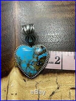 Navajo Large Blue Kingman Turquoise Heartpendant Elouise Richards