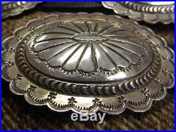 Navajo Larsen Blackgoat Sterling Silver Concho Belt 42, C1980, Sgnd, Az Estate, Ex